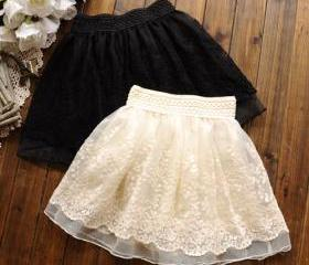 Wide Elastic Waist Layered Crochet Lace Flared Tulle Skirt [grzxy6601257]