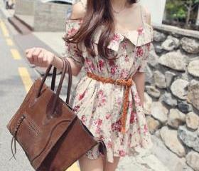 Floral Print Short Sleeve Off Shoulder Mini Slip Dress [grzxy6601403]