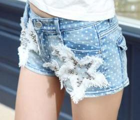 [grzxy6601609]Pokla Dots Beaded Fringed Star Denim Shorts Hot Pants