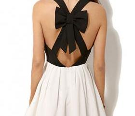 [grzxy6601633]Black and White Crossback Bowknot Low Cut Tank Dress