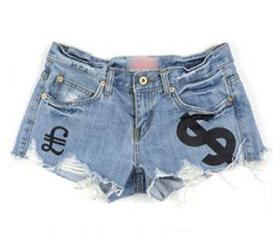 Currency Symbol Print Distressed Hot Pants Denim Shorts [grzxy6601658]