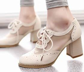 [grzxy61900394]Cutout Mesh Block Heel Lace Up Oxford Shoes