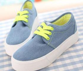 [grzxy61900405]Lace Up Casual Canvas Shoes Low Top Flat Sneaker